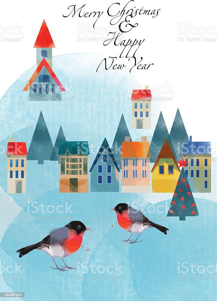 wintercard6 vector art illustration