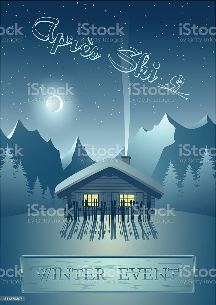 Winternight in the mountains - Après Ski (Poster for events) vector art illustration
