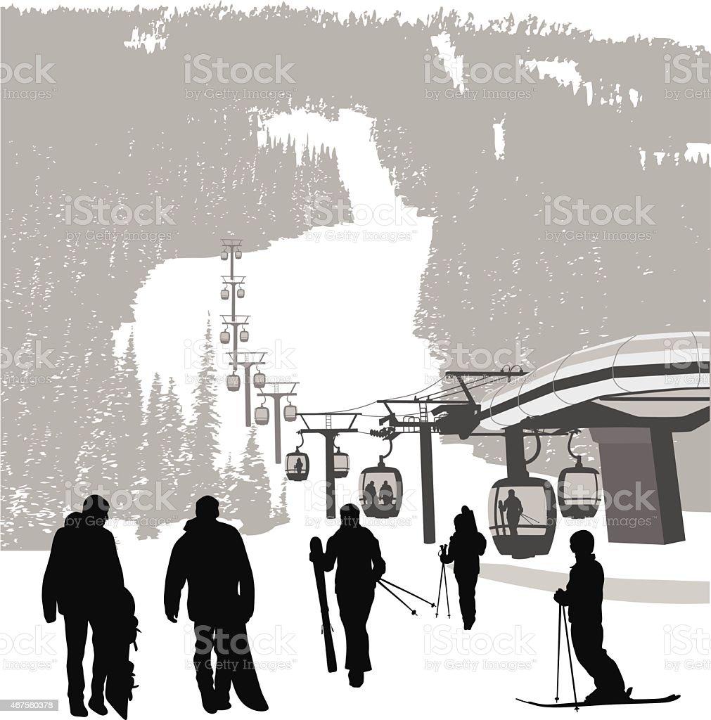 WinterVacation vector art illustration