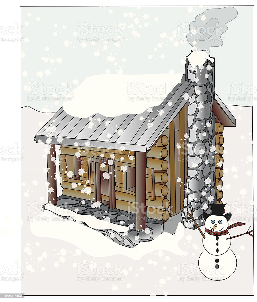 Wintery cabin scene - vector royalty-free stock vector art