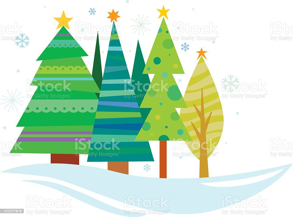 Wintery Christmas Trees vector art illustration
