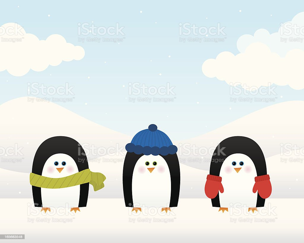 Wintry Penguins royalty-free stock vector art