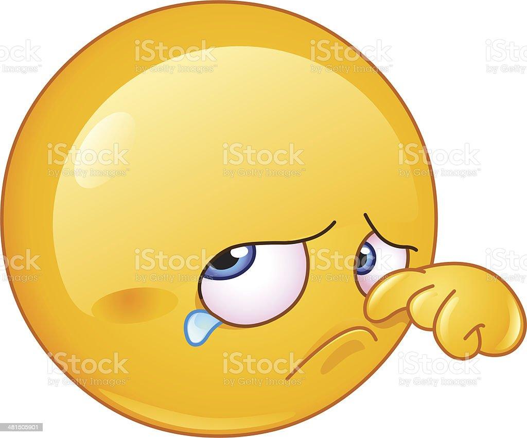 Wiping tear emoticon vector art illustration