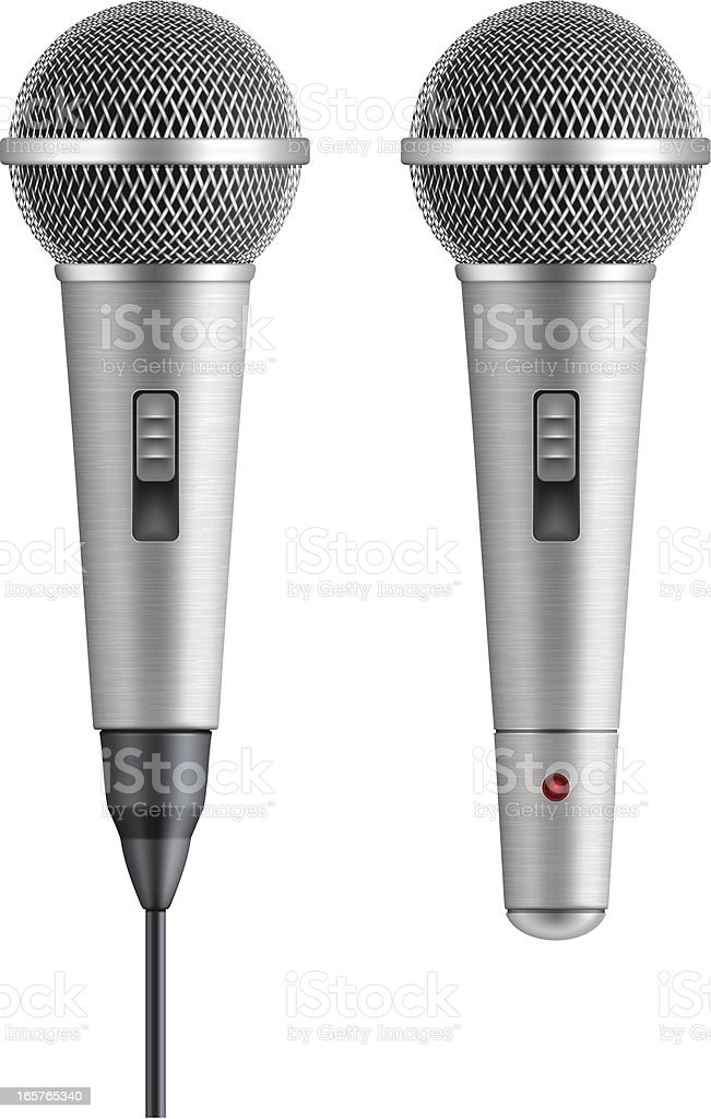 wire and wireless vocal microphone royalty-free stock vector art