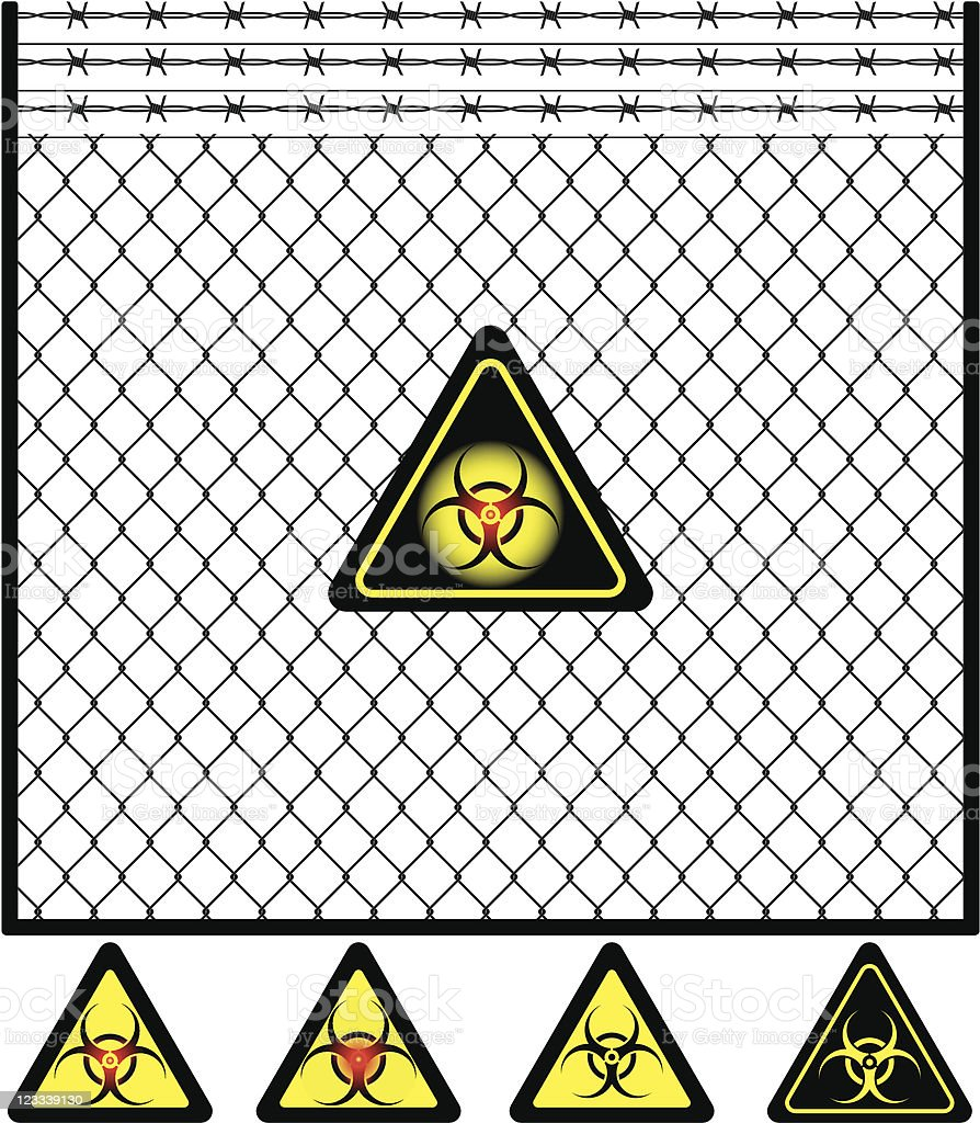 Wire mesh fence and biohazard sign royalty-free stock vector art