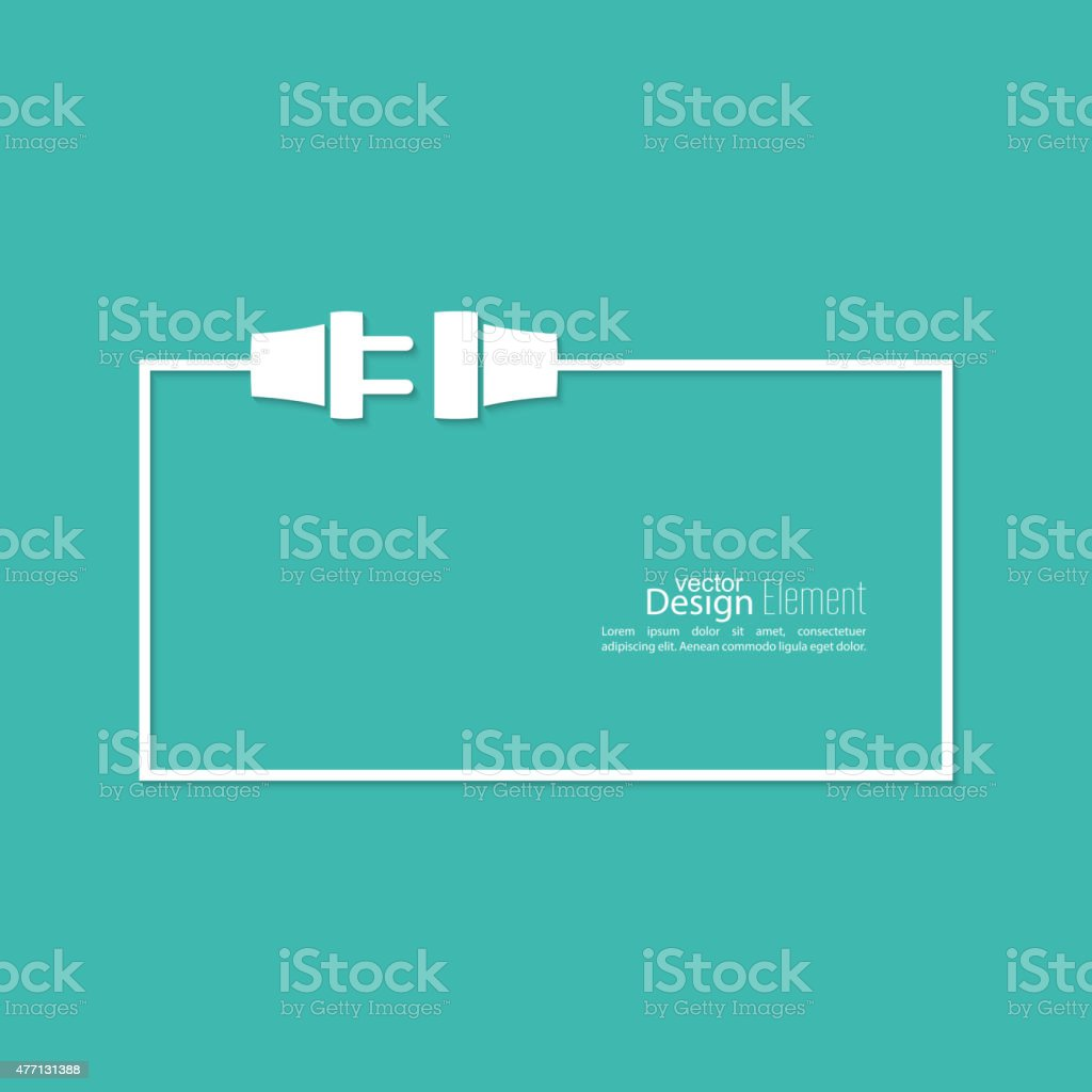 wire plug and socket vector art illustration