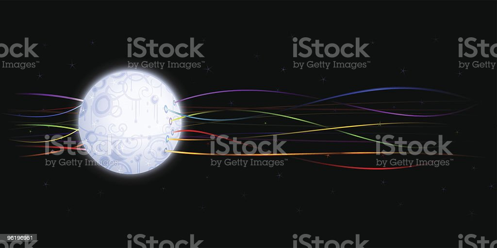 Wired artificial moon royalty-free stock vector art