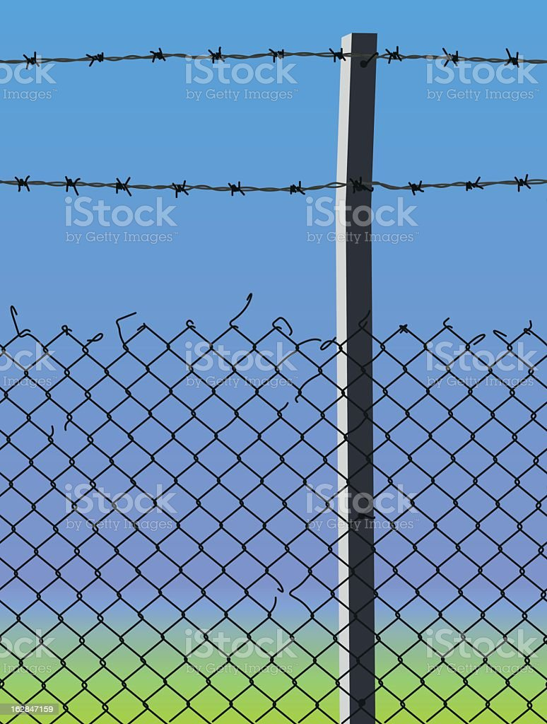 wired fence vector art illustration