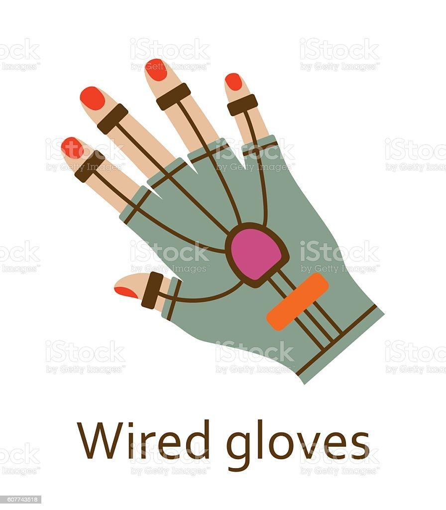 Wired gloves line icon. Vector illustration. vector art illustration