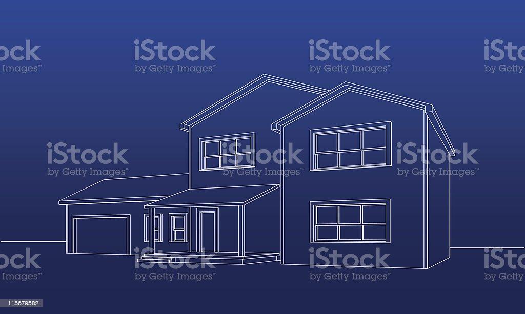 Wireframe American House vector art illustration