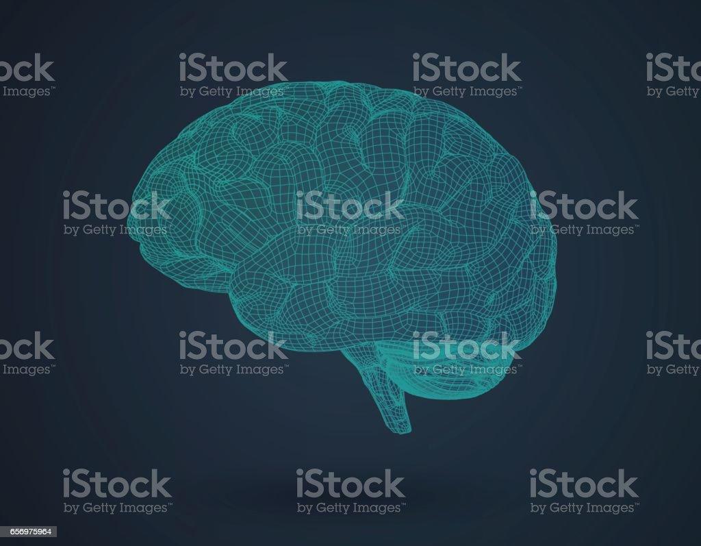 3D wireframe brain in side view on dark BG vector art illustration