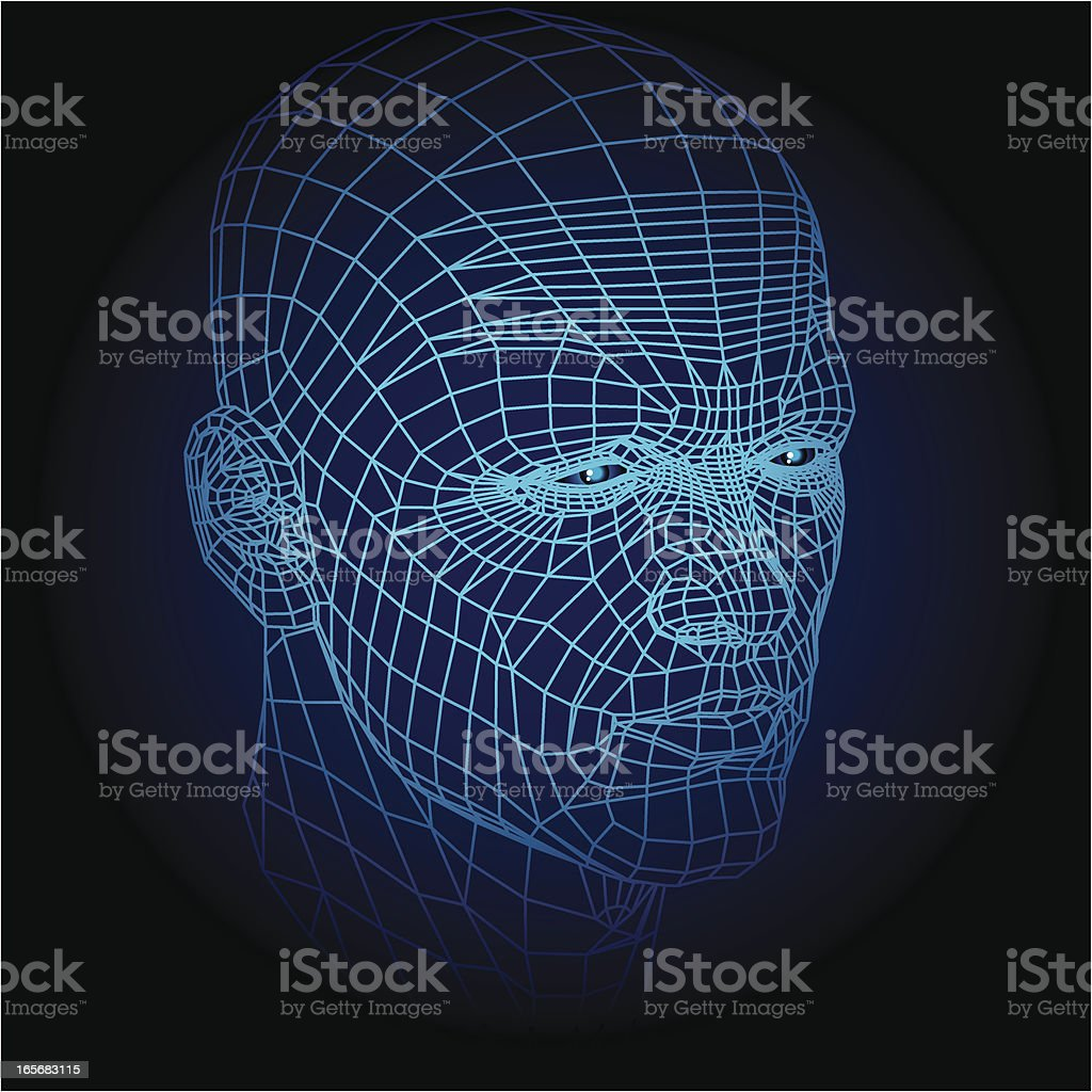 Wireframe face royalty-free stock vector art