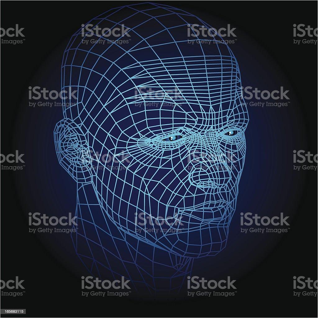 Wireframe face vector art illustration