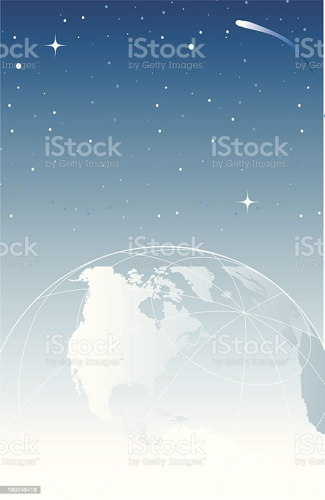 wireframe globe in space vertical royalty-free stock vector art