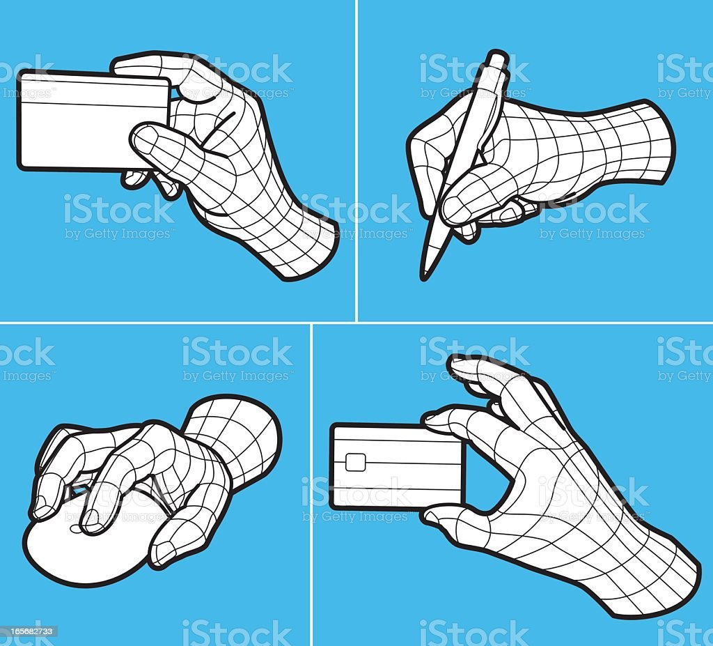 Wireframe hands holding credit card, pen and computer mouse royalty-free stock vector art