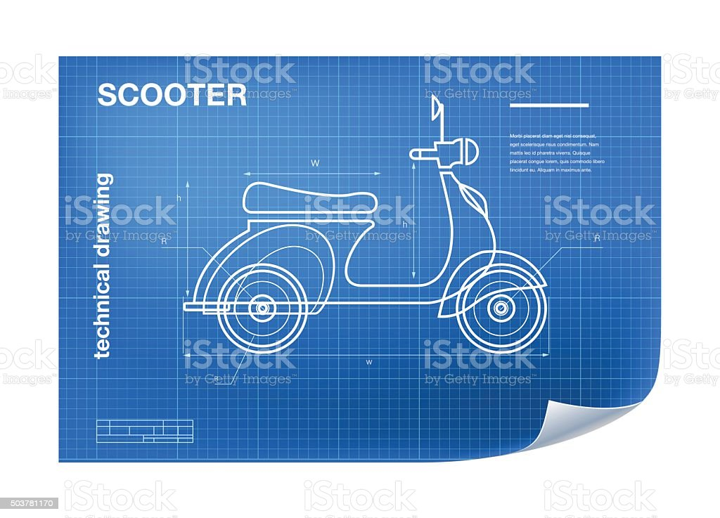 Wireframe Illustration with scooter drawing on the blueprint vector art illustration