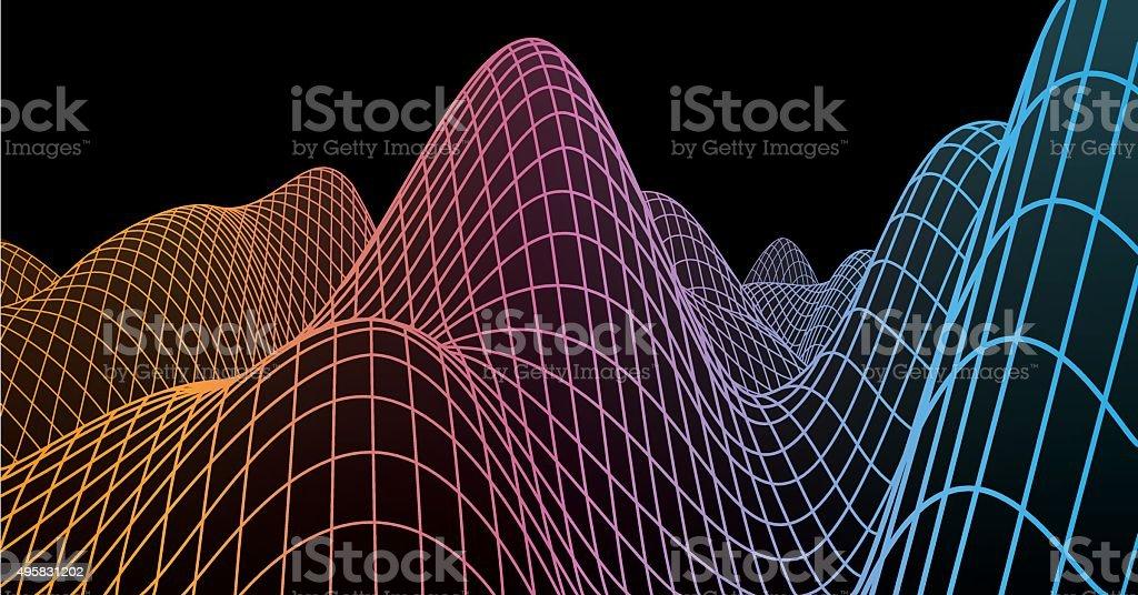 Wire-frame landscape vector art illustration