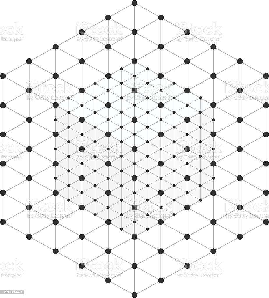 Wireframe mesh cube vector art illustration