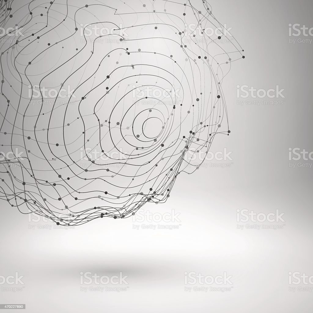 Wireframe mesh element. Abstract form connected lines and dots vector art illustration