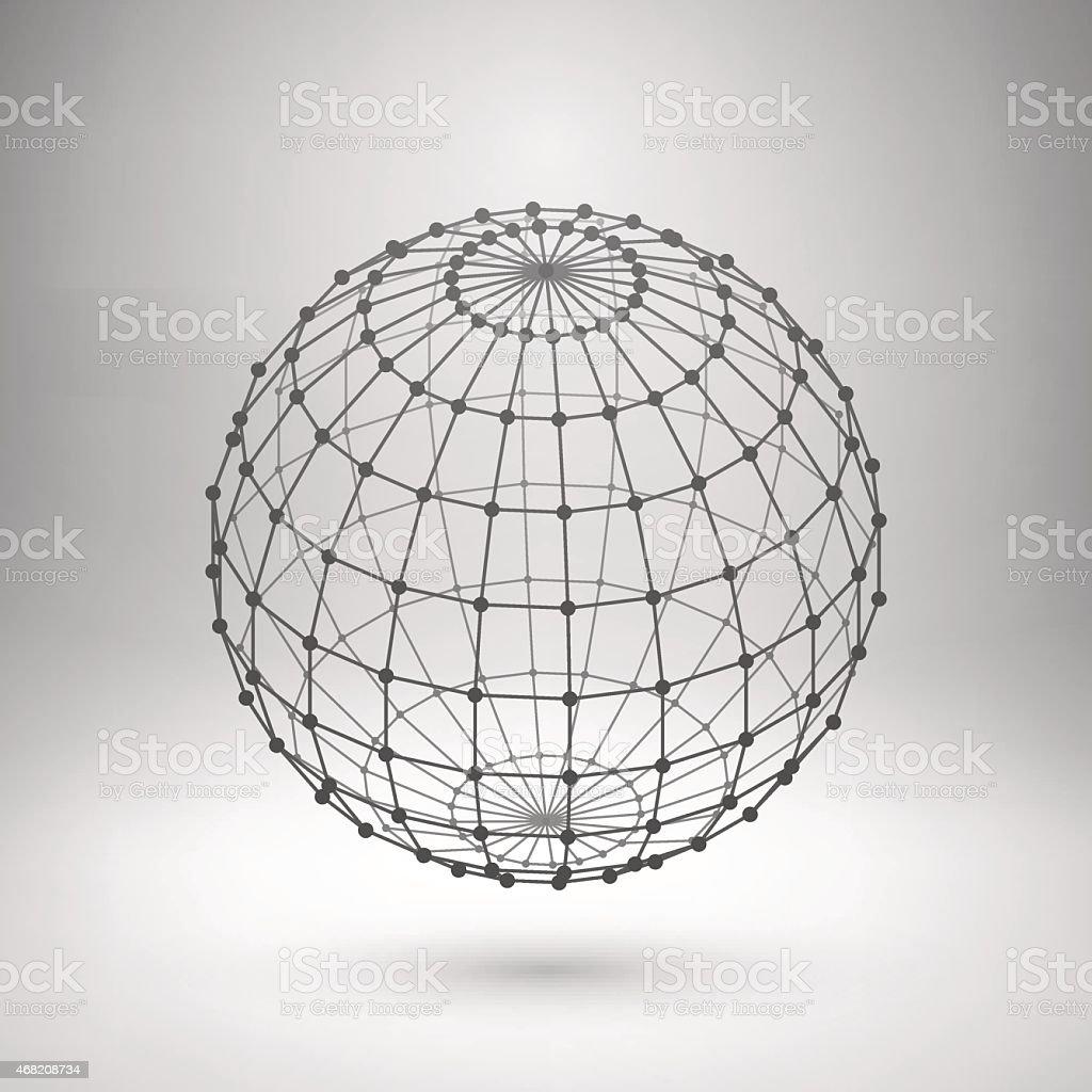 Wireframe mesh polygonal sphere on grey background  vector art illustration