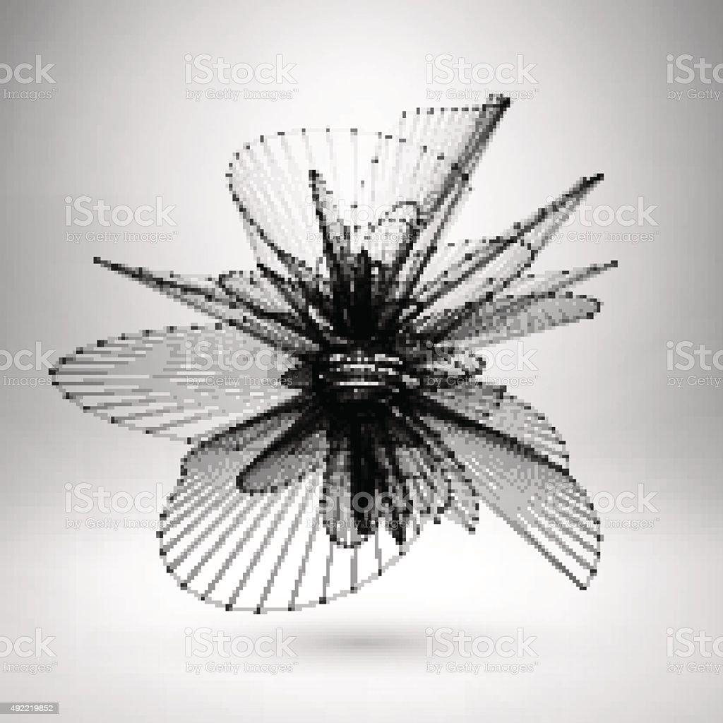 Wireframe mesh polygonal sphere. vector art illustration