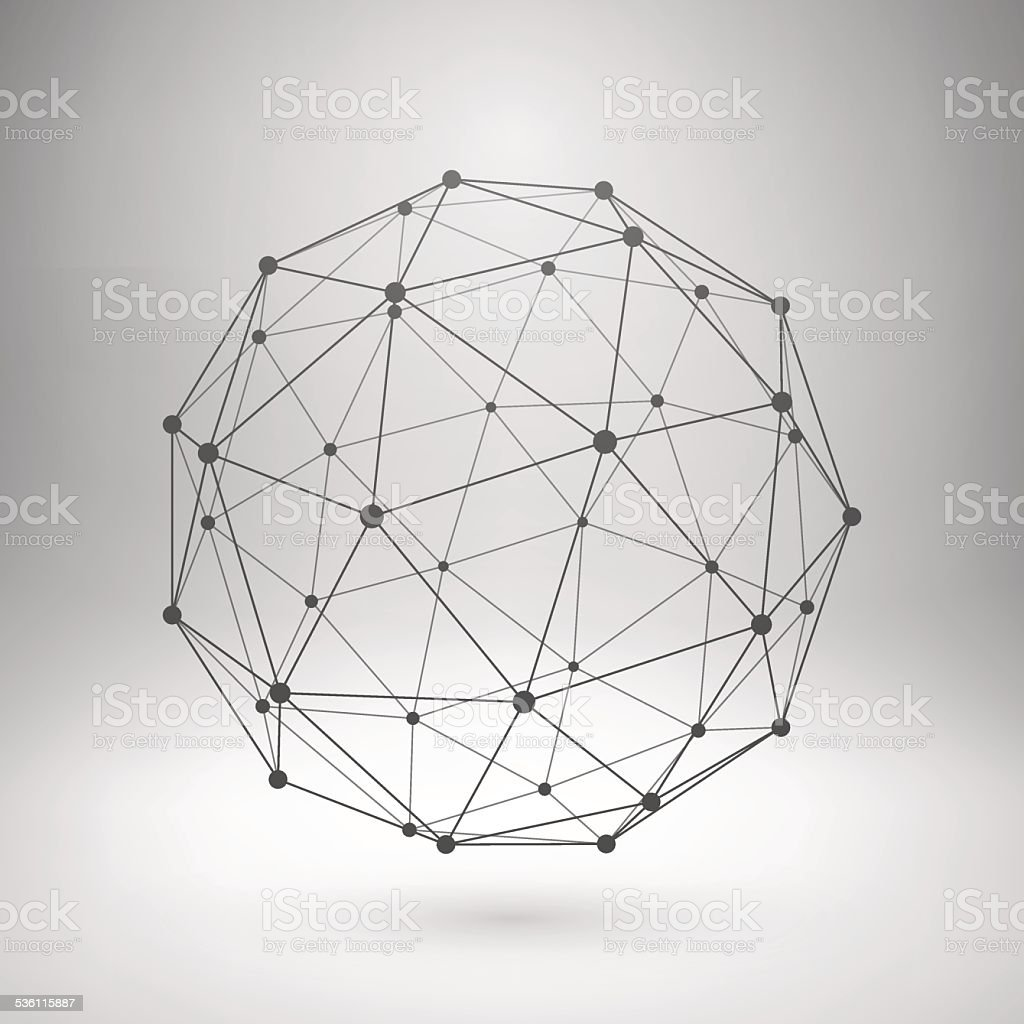 Wireframe mesh polygonal sphere vector art illustration