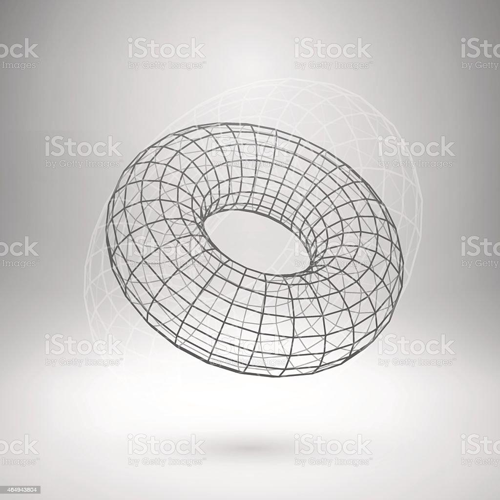 Wireframe mesh polygonal torus vector art illustration
