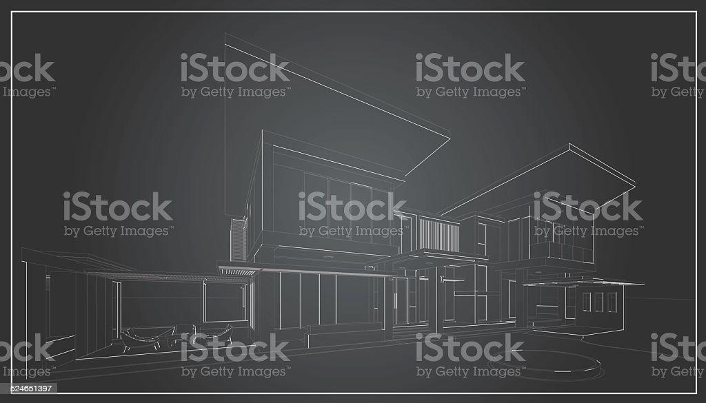 3D wireframe of building vector art illustration