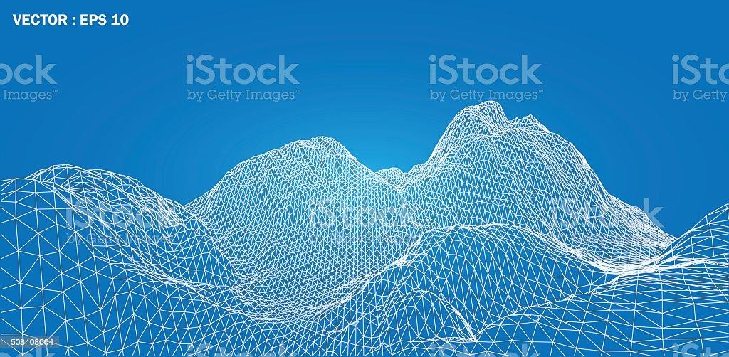 3D wireframe of contour swirl vector art illustration