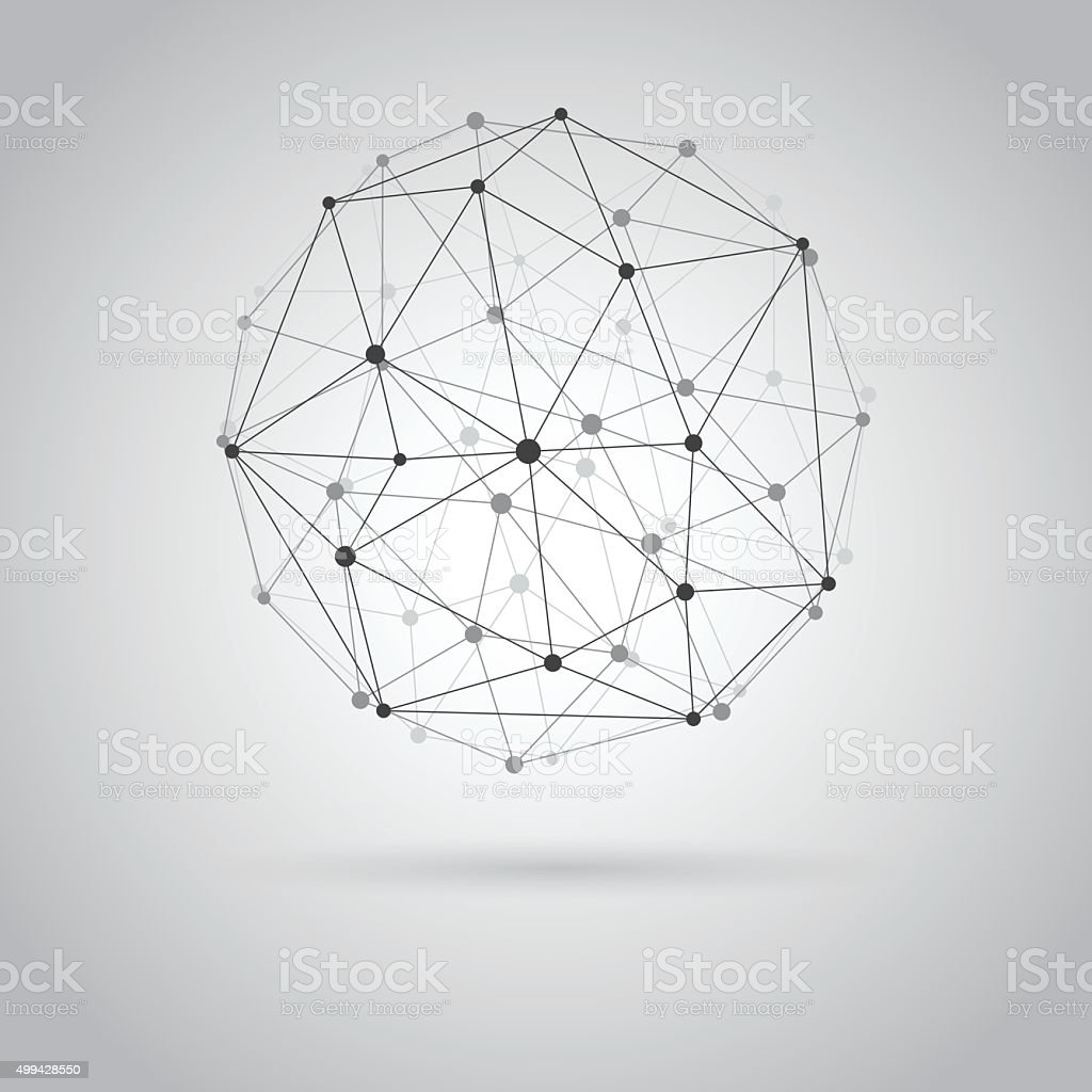 Wireframe sphere. vector art illustration