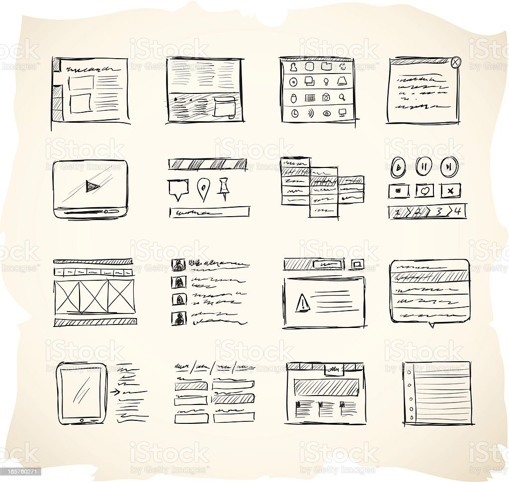 Wireframing Icons 2 vector art illustration