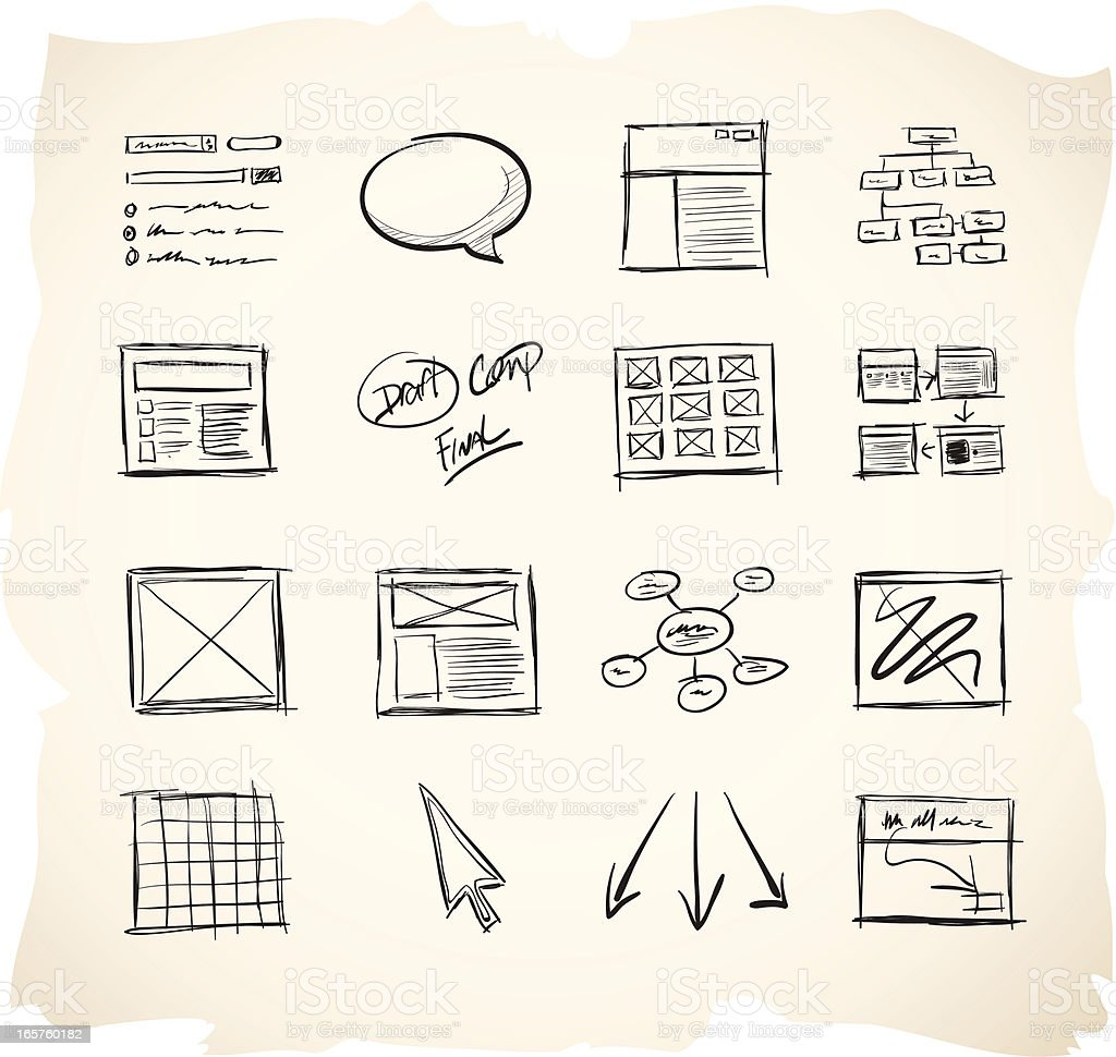 Wireframing Icons vector art illustration