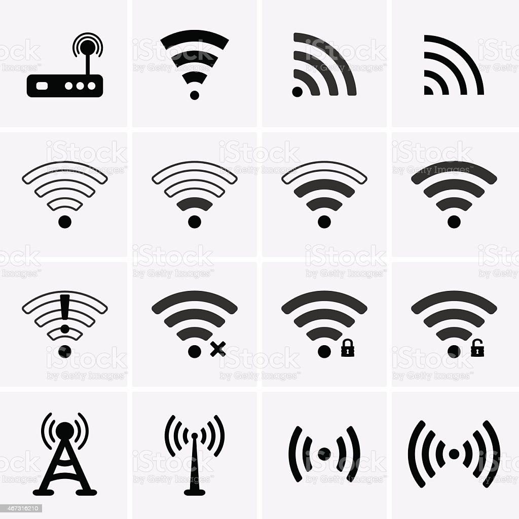Wireless and Wifi icons vector art illustration