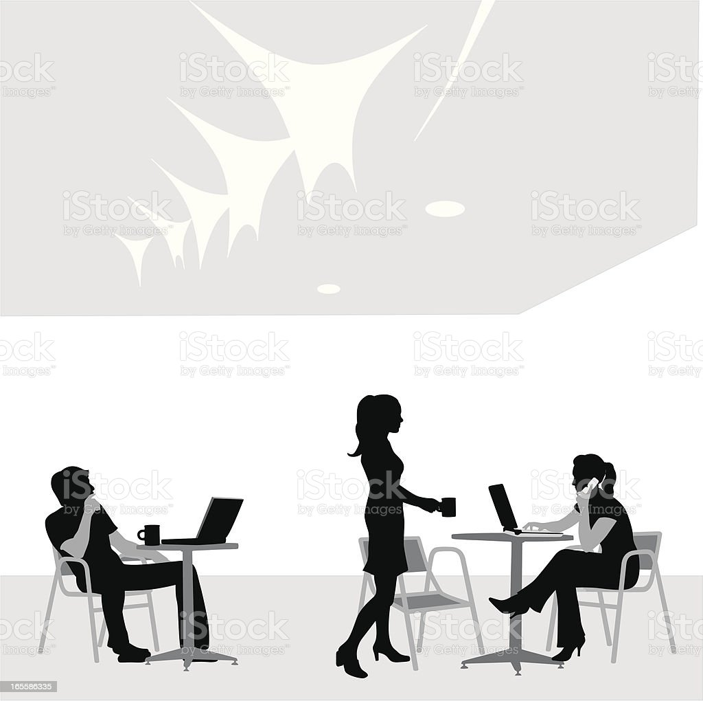Wireless Cafe Vector Silhouette royalty-free stock vector art