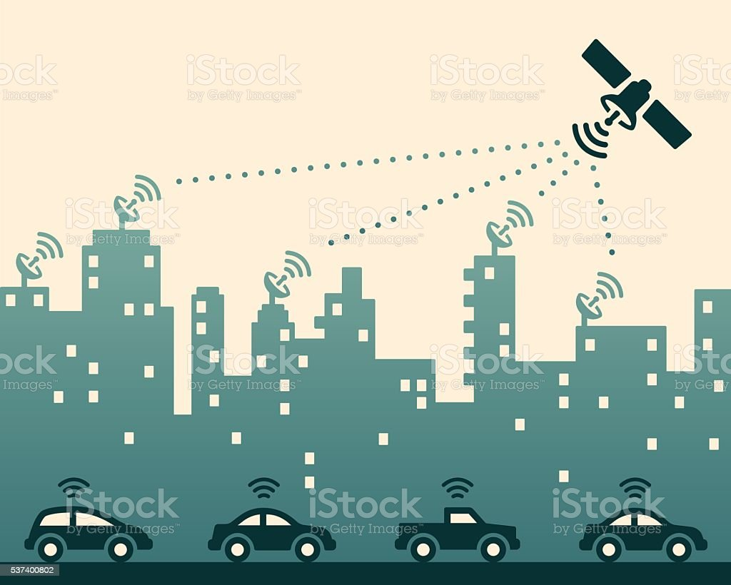 Wireless City vector art illustration