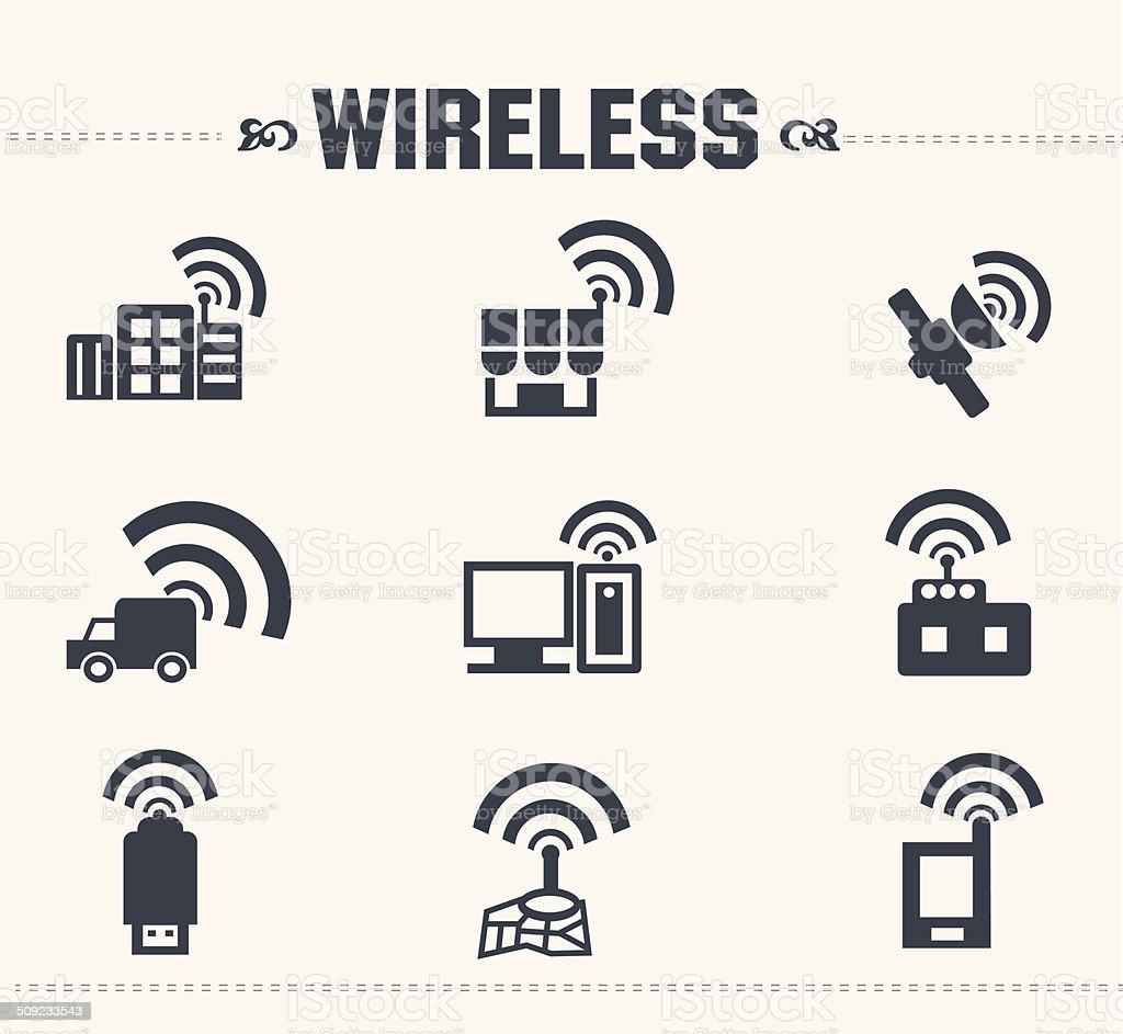 Wireless & communication icon set,vector vector art illustration