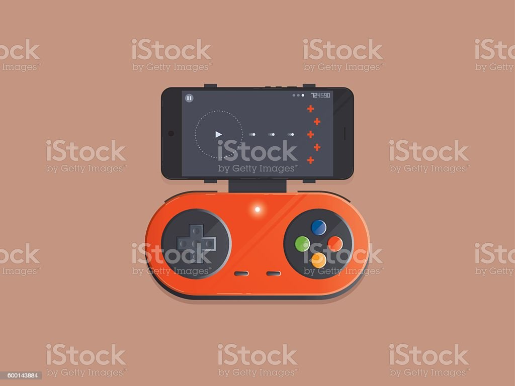 Wireless gamepad connect to smartphone vector art illustration