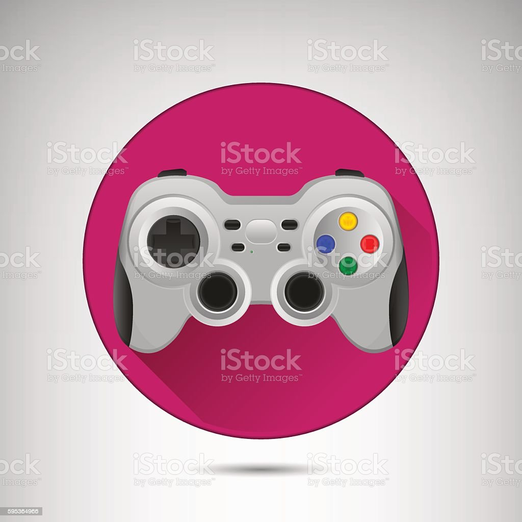 Wireless grey gamepad icon with long shadow. vector art illustration