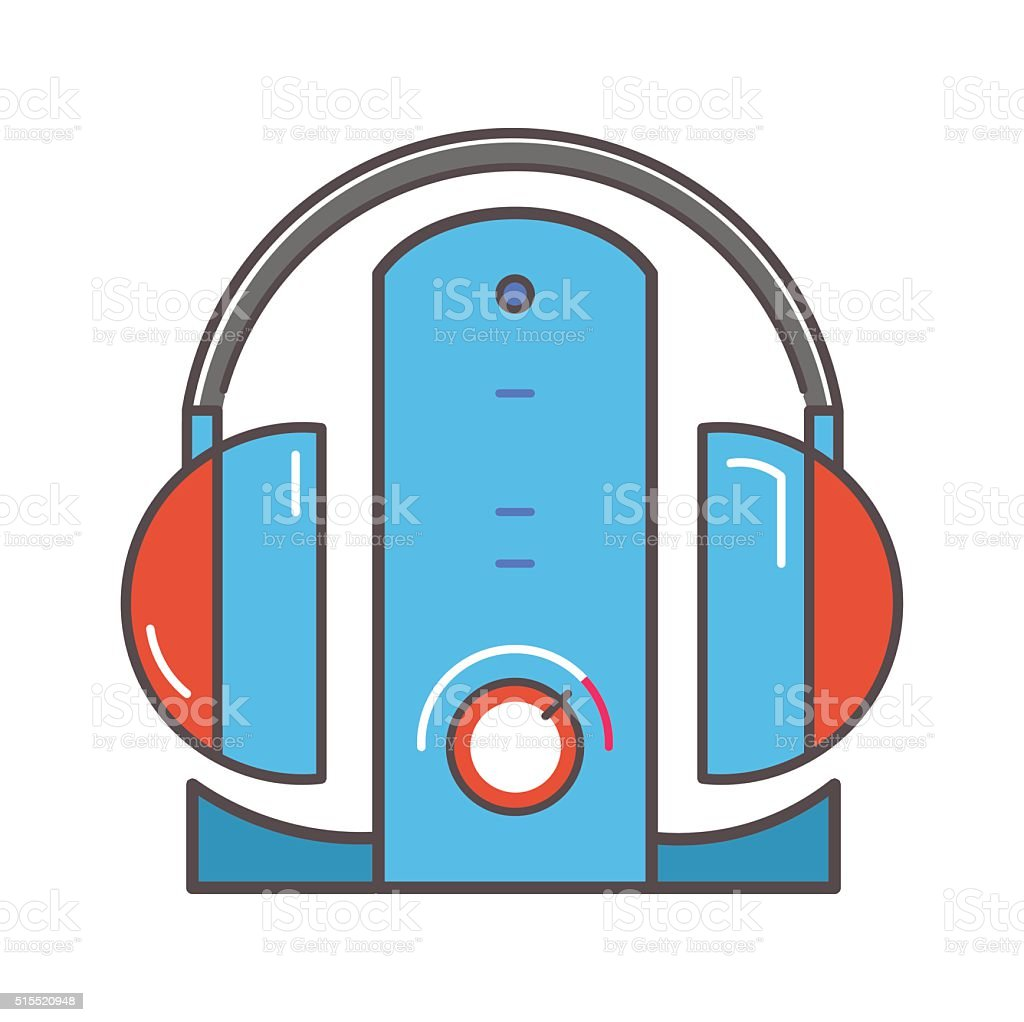 Wireless headphones  with dock station flat icon vector art illustration