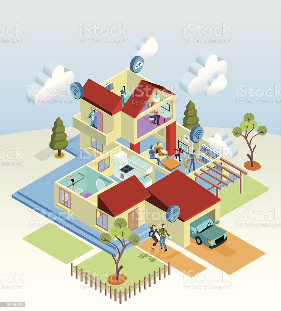 Wireless Home vector art illustration