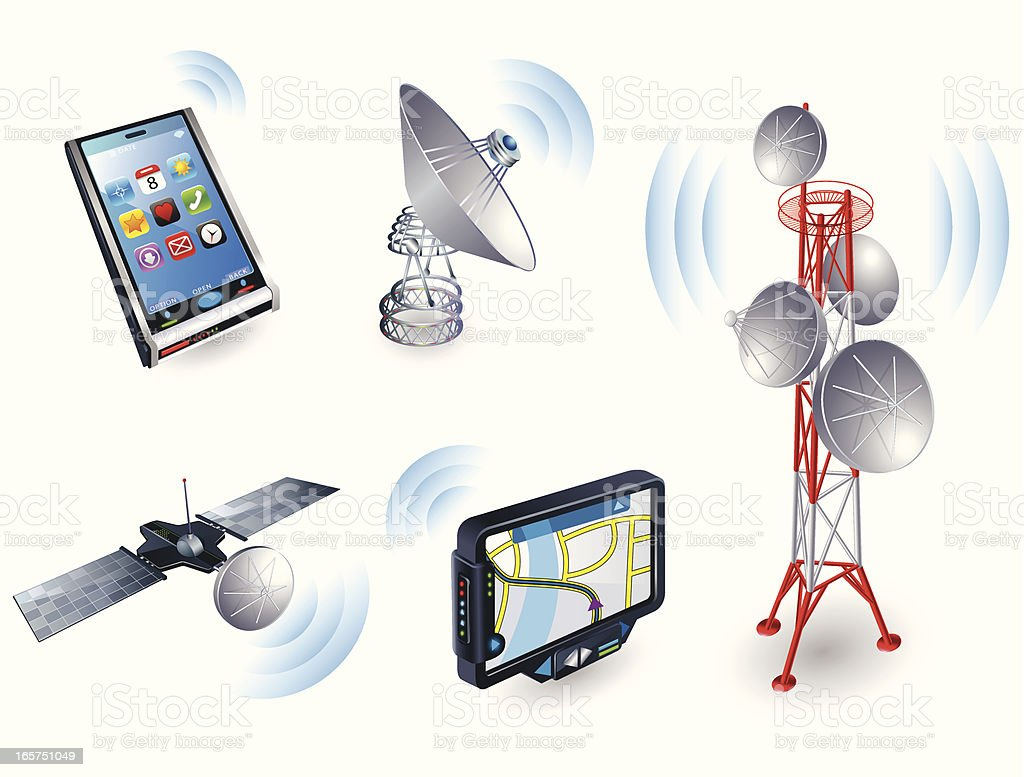 Wireless icons - 3D series royalty-free stock vector art
