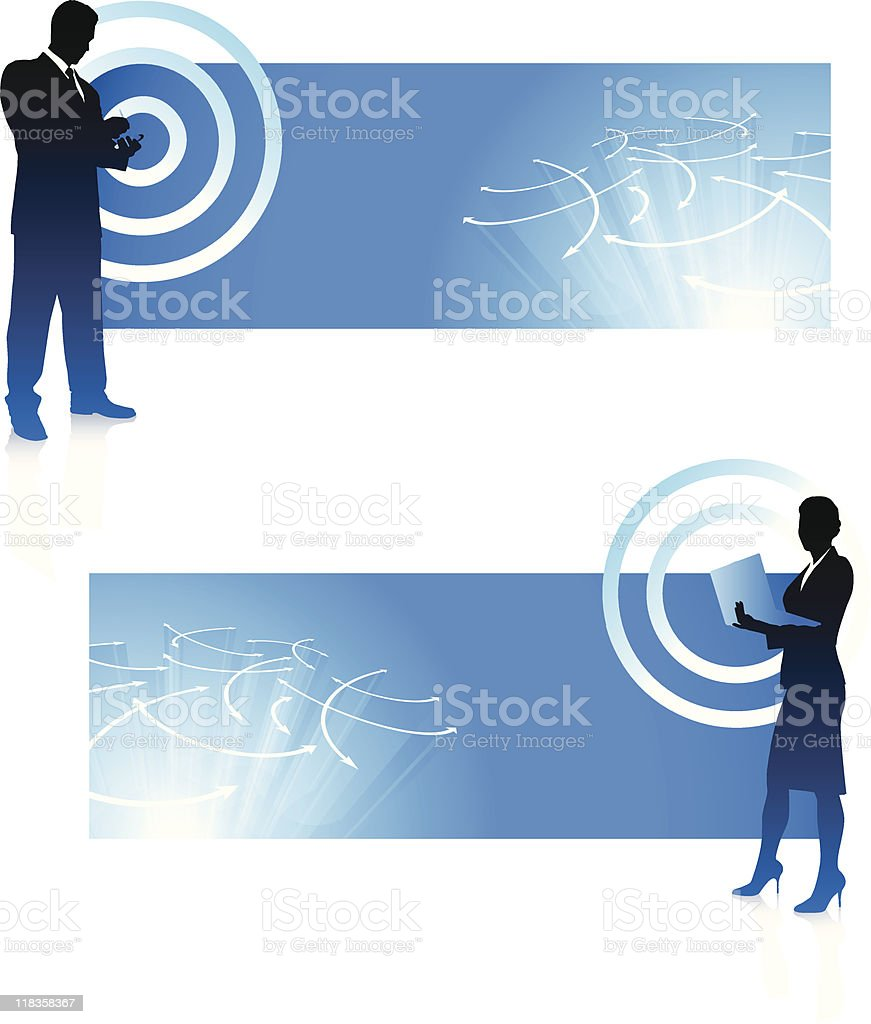 Wireless internet backgrounds with business executives royalty-free stock vector art
