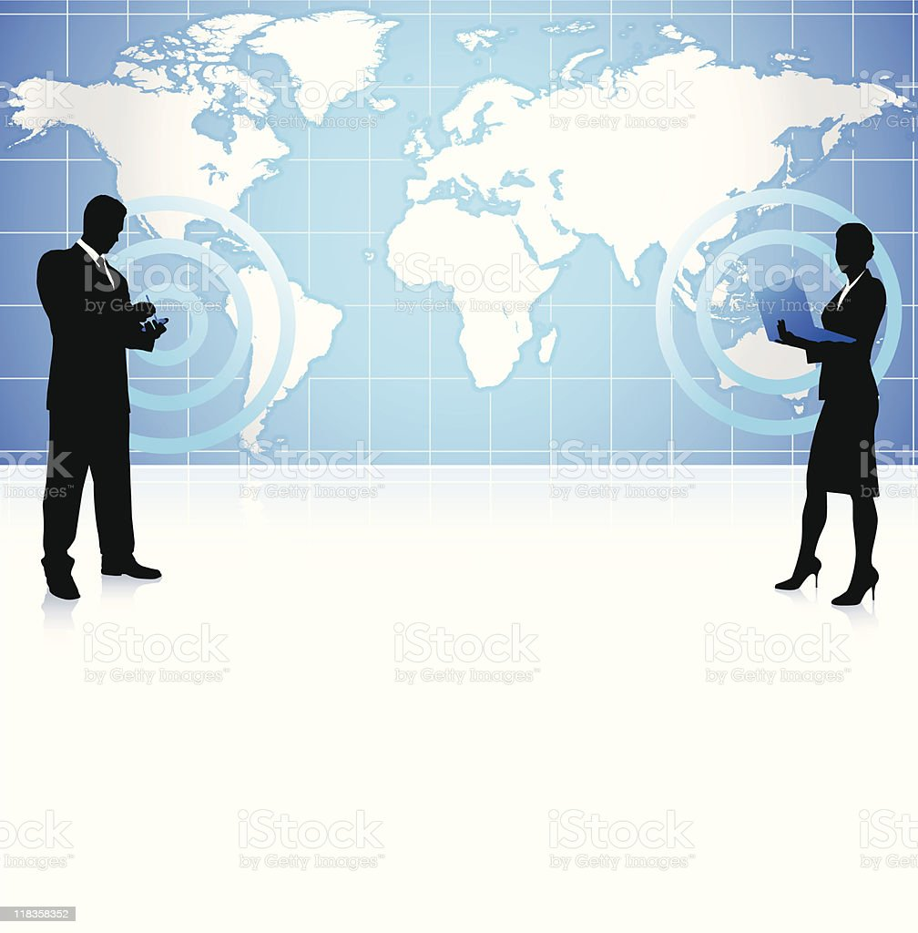 Wireless internet business background with world map royalty-free stock vector art