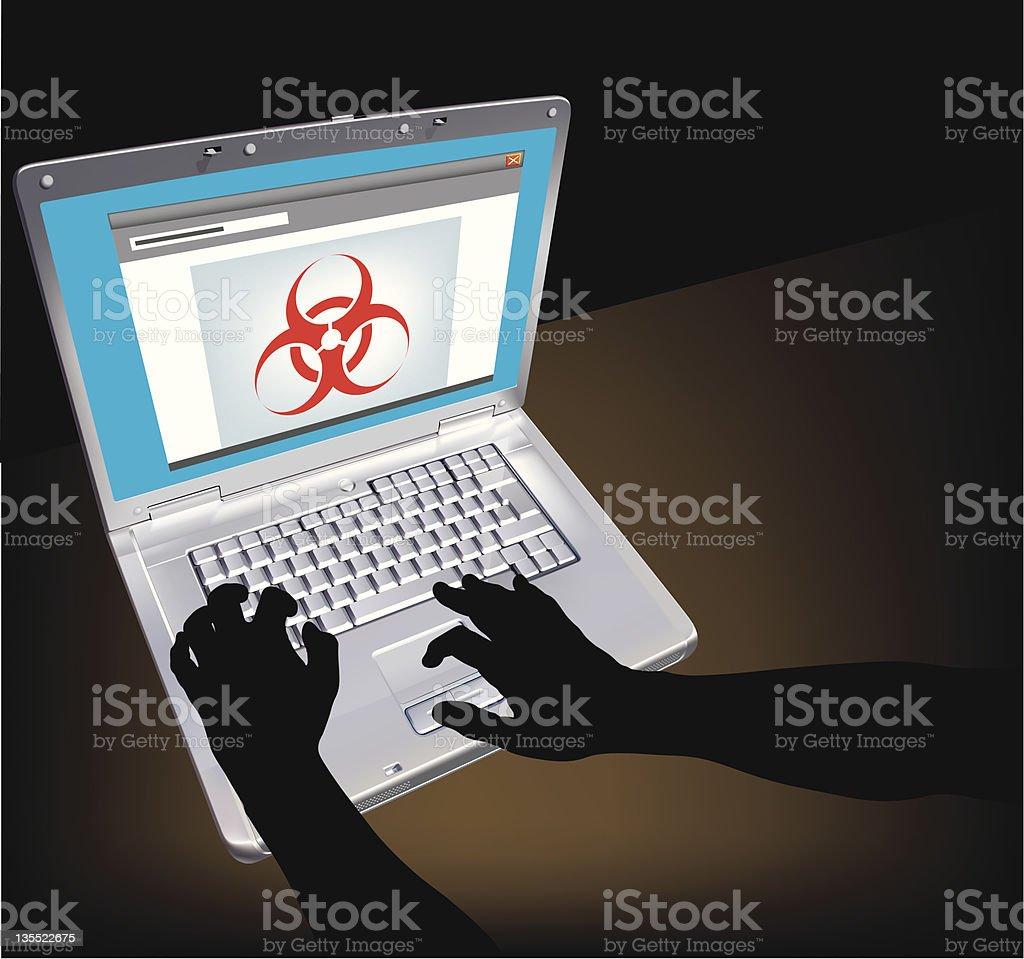Wireless Network Virus vector art illustration