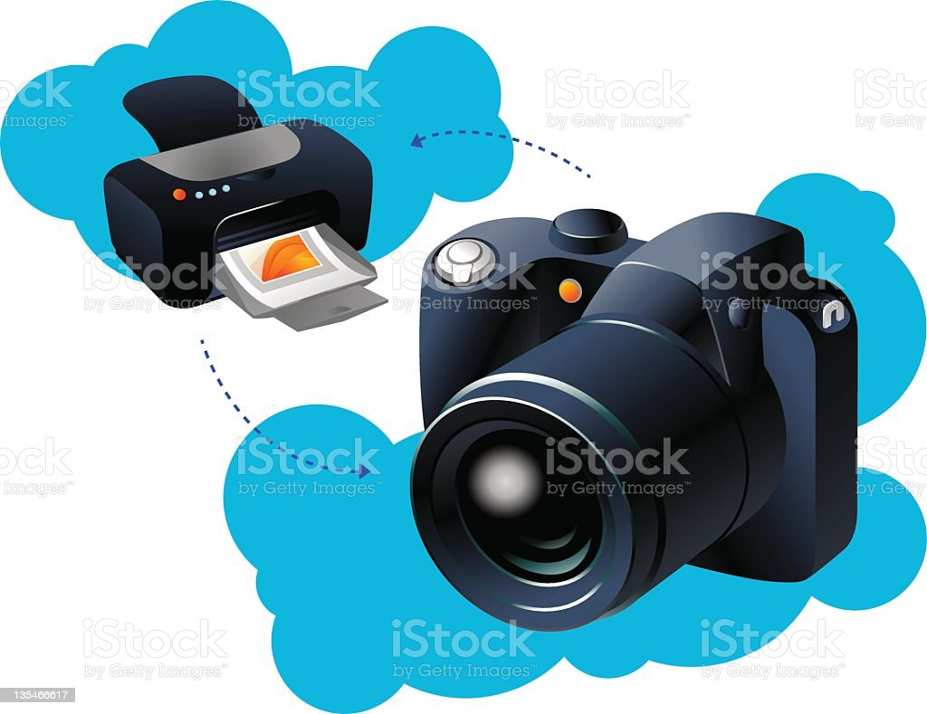 Wireless printing concept royalty-free stock photo