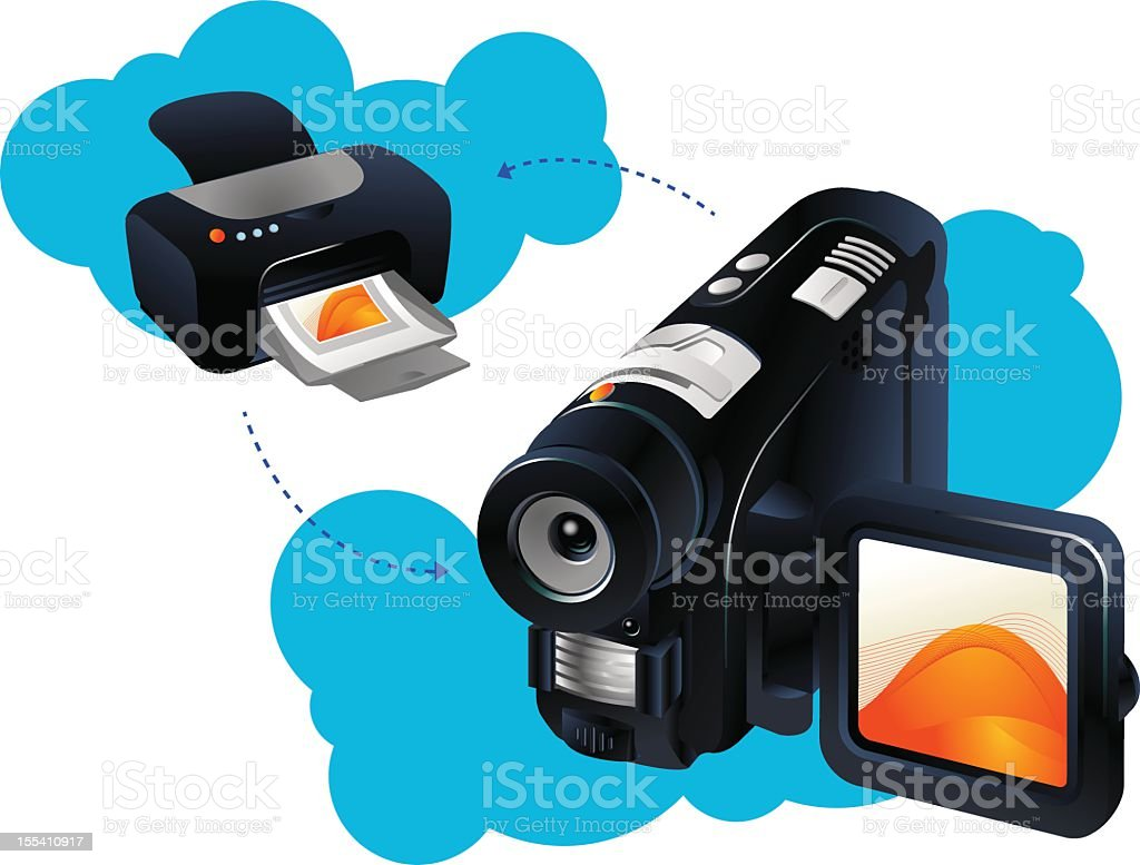Wireless printing concept royalty-free stock vector art