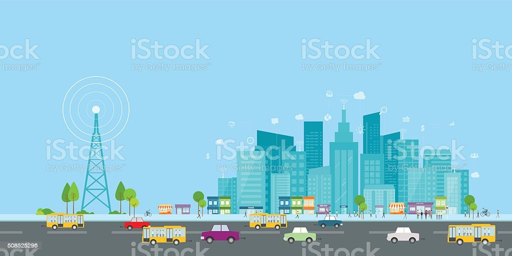 wireless signal of internet in business city.internet connection.social on line business vector art illustration