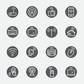 Wireless technology black circles line icon