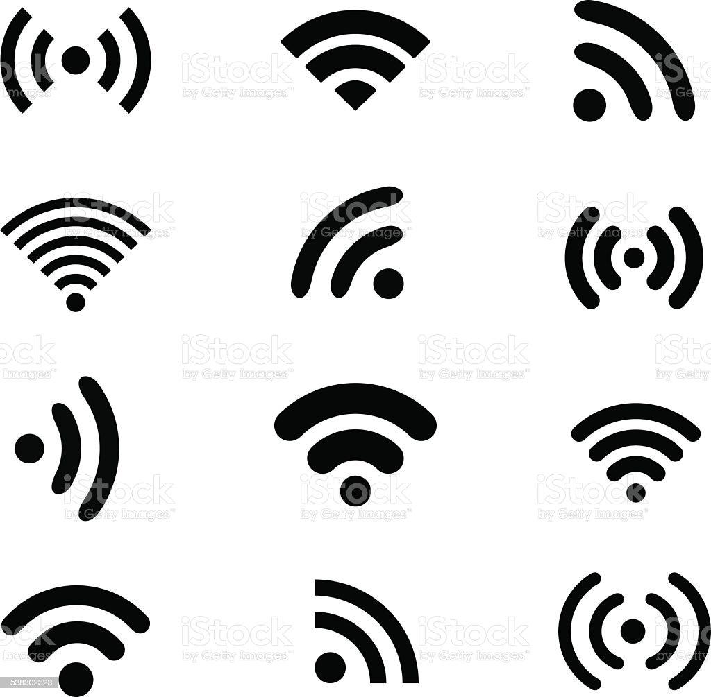Wireless technology, black web icons set vector art illustration