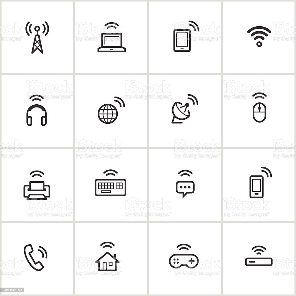 Wireless Technology Icons — Inky Series vector art illustration
